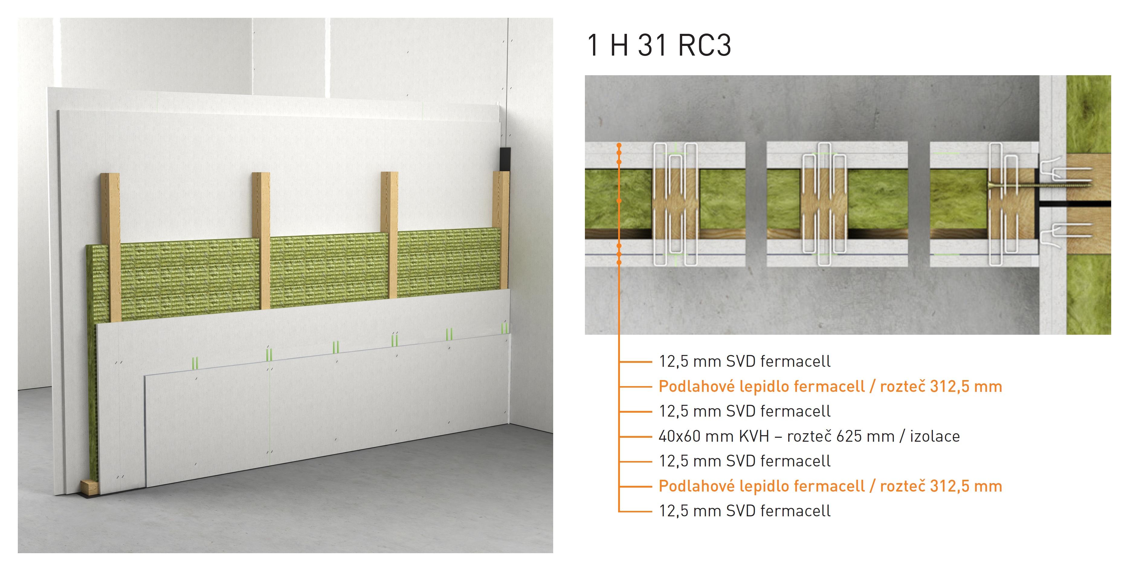 Skladba montované stěny Fermacell 1H31 RC3