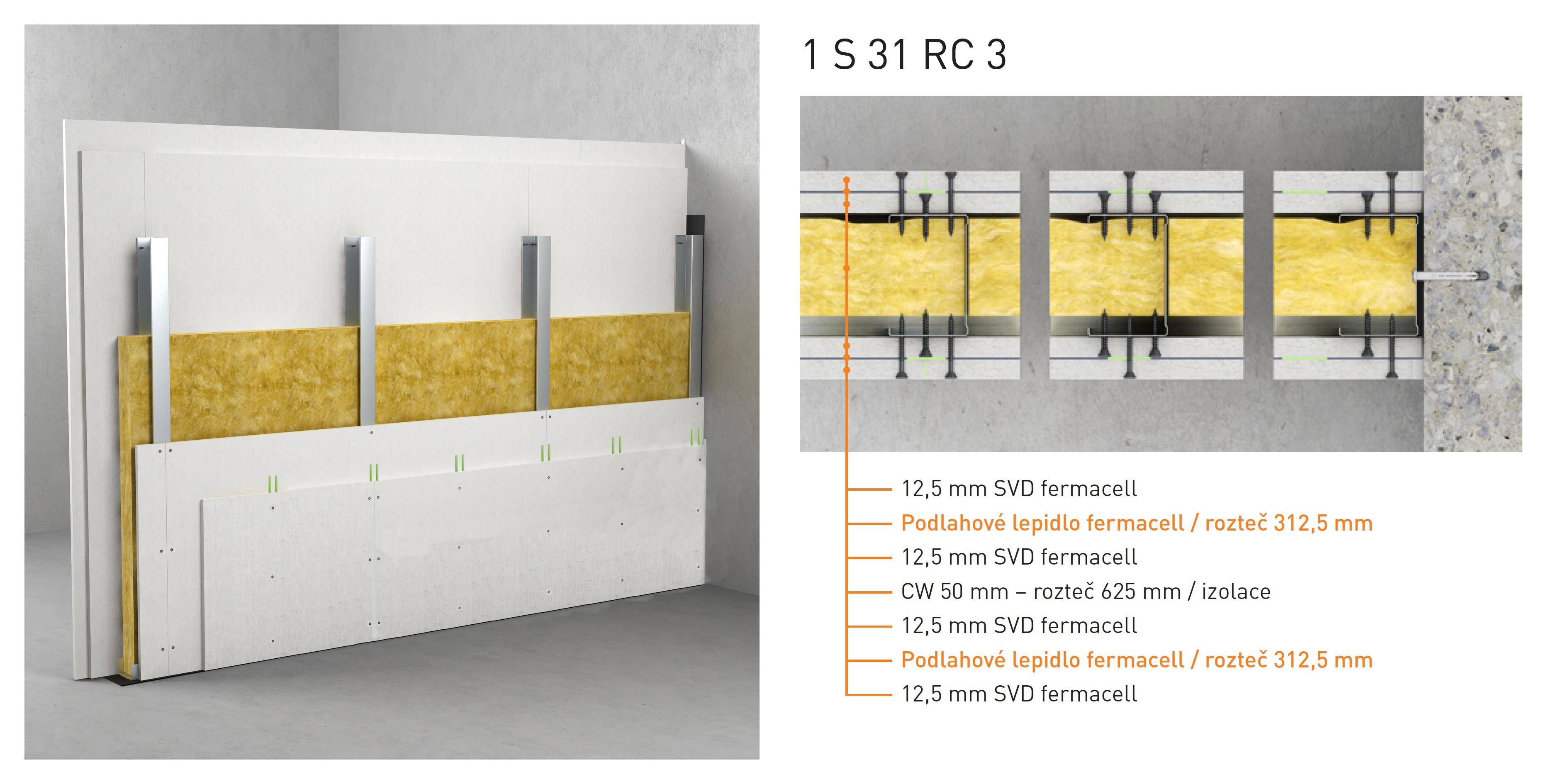 Skladba montované stěny Fermacell 1S31 RC3
